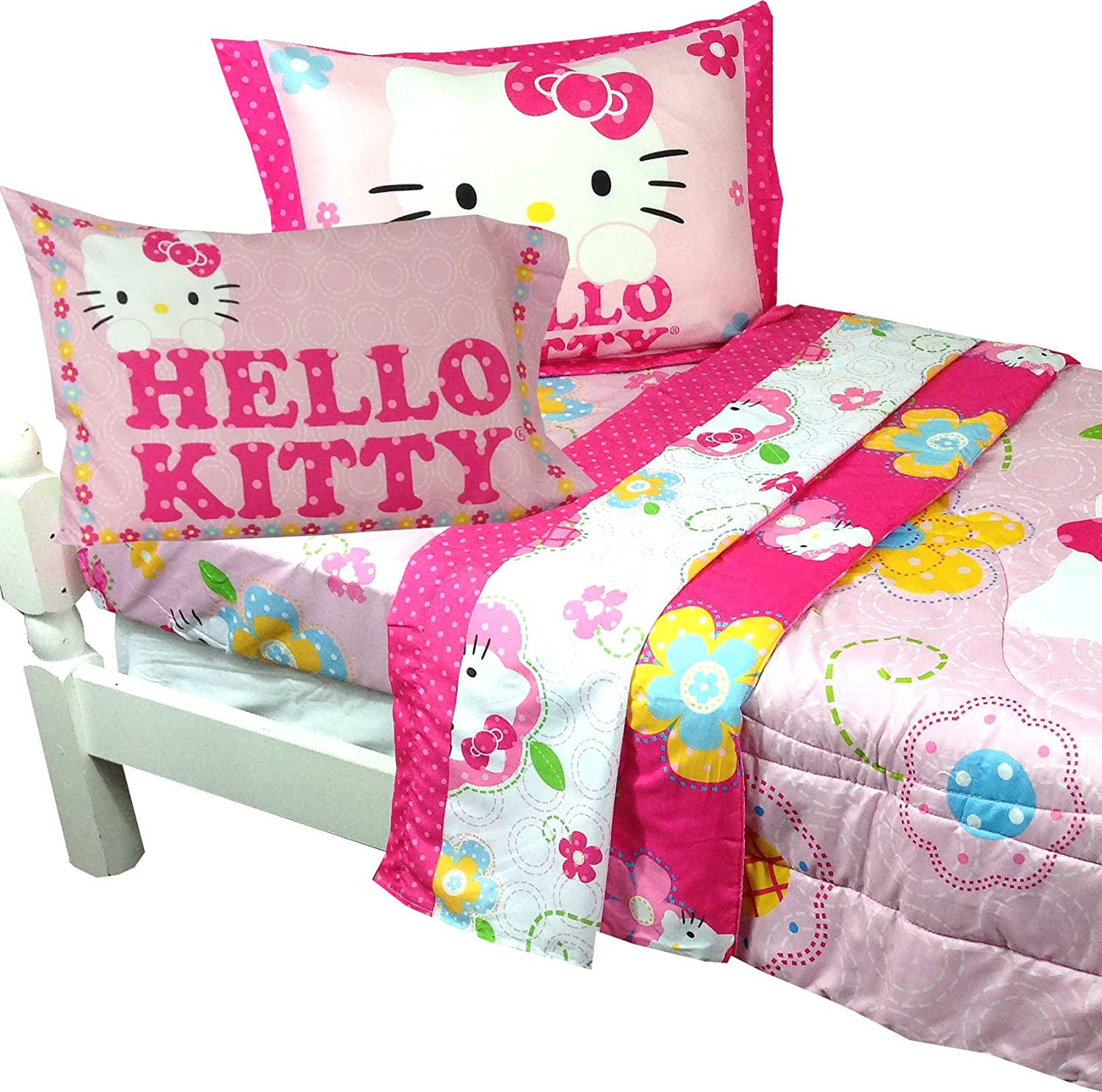NEW HELLO KITTY 10 PC TWIN FLOWERS PLETE BED SET w RUG