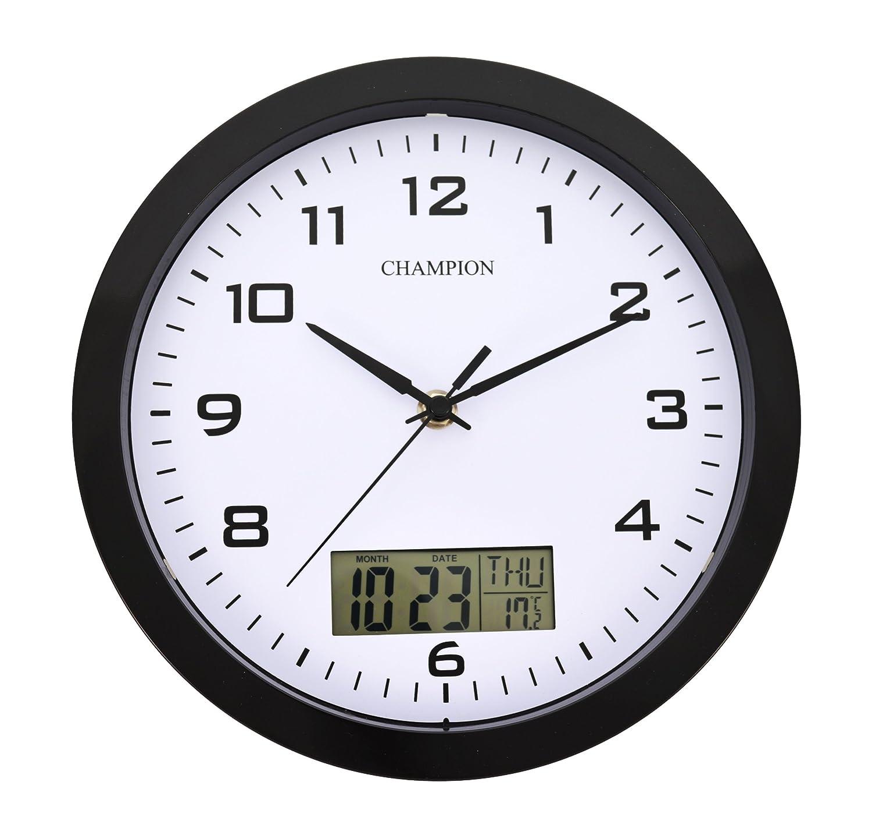 perpetual lcd day date window quartz wall clock black 250mm wdl1