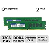 Timetec Hynix IC 32GB Kit (2x16GB) DDR4 2666MHz PC4-21300 Unbuffered Non-ECC 1.2V CL19 2Rx8 Dual Rank 288 Pin UDIMM Desktop Memory RAM Module Upgrade (32GB Kit (2x16GB)) (Tamaño: 32GB KIT(2x16GB))