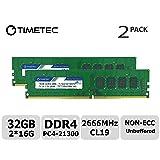 Timetec Hynix IC 32GB Kit (2x16GB) DDR4 2600MHz PC4-20800 Unbuffered Non-ECC 1.2V CL19 2Rx8 Dual Rank 288 Pin UDIMM Desktop Memory RAM Module Upgrade (32GB Kit (2x16GB)) (Tamaño: 32GB KIT(2x16GB))