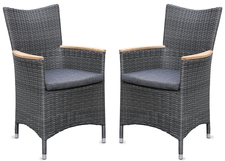 2x Hochwertiger Polyrattan Gartenstuhl mit Teakarmlehnen Teak Sessel Rattan Stuhl Gartenstühle Gartenmöbel online bestellen