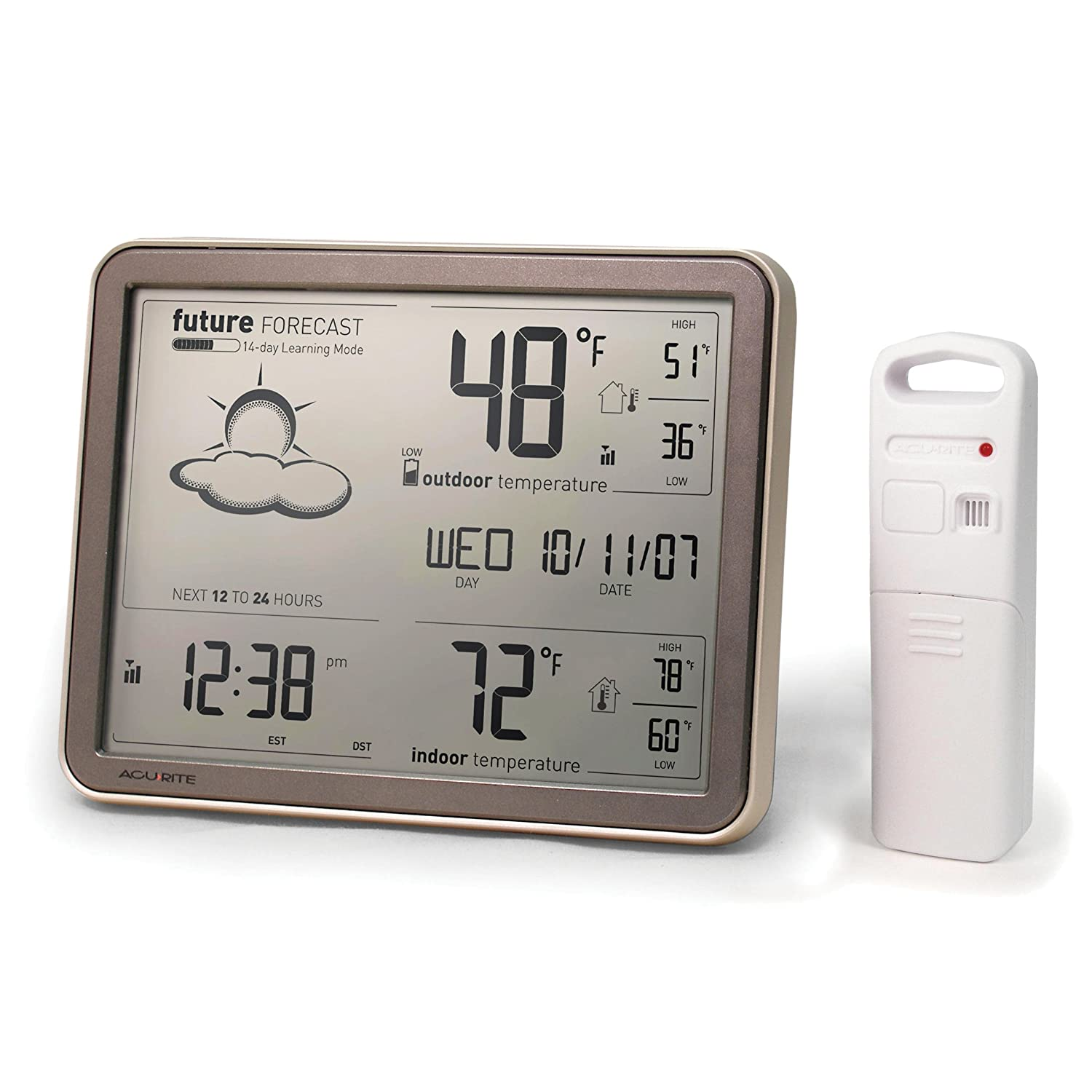 AcuRite 75077A3M Self-Learning Forecast Wireless Weather Station with Large Display and Atomic Clock