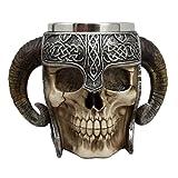 Ebros Gift Viking Ram Horned Pit Lord Warrior Skull With Battle Helmet Beer Stein Tankard Coffee Cup Mug 13oz Norse Mythology Folklore Odin Thor Loki Ragnarok Poetic Edda Decor (Color: Multi Colored)