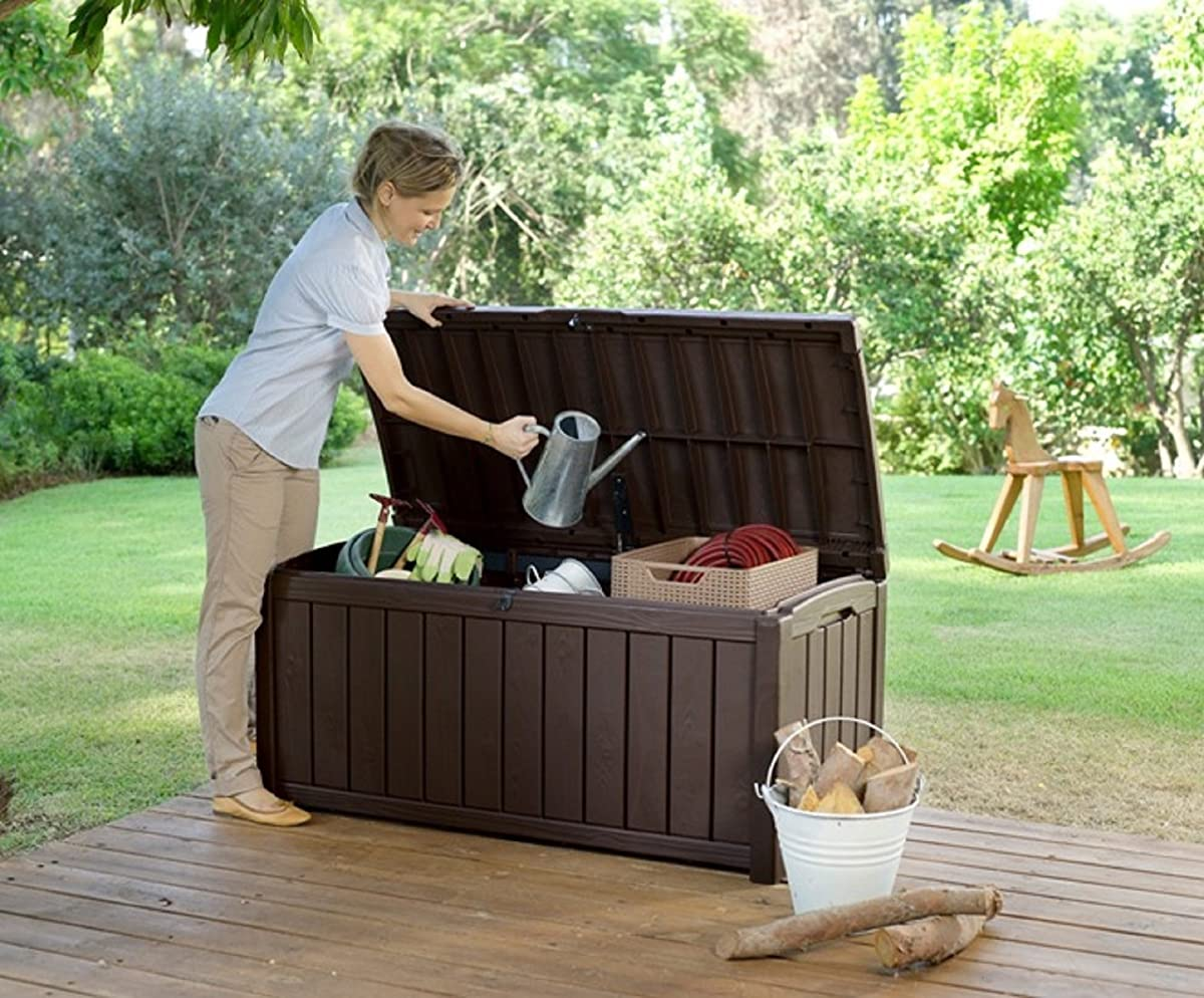 Keter Glenwood Plastic Deck Storage Container Box 101 Gal