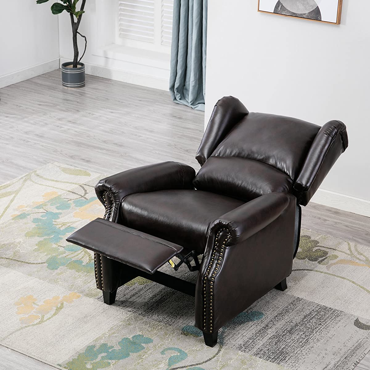 BONZY Traditional Wingback Pushback Recliner Chair Solid Wood Legs Manual Recliners - Dark Brown