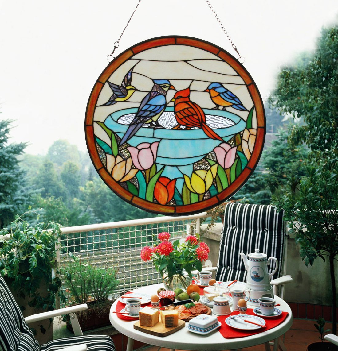 Makenier Vintage Tiffany Style Stained Church Art Glass Parrot and Tulip Round Window Panel Wall Hanging 0