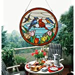 Makenier Vintage Tiffany Style Stained Church Art Glass Parrot and Tulip Round Window Panel Wall Hanging