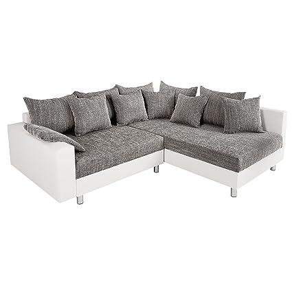 Design Ecksofa LOFT weiß Strukturstoff grau Federkern Sofa OT beidseitig aufbaubar
