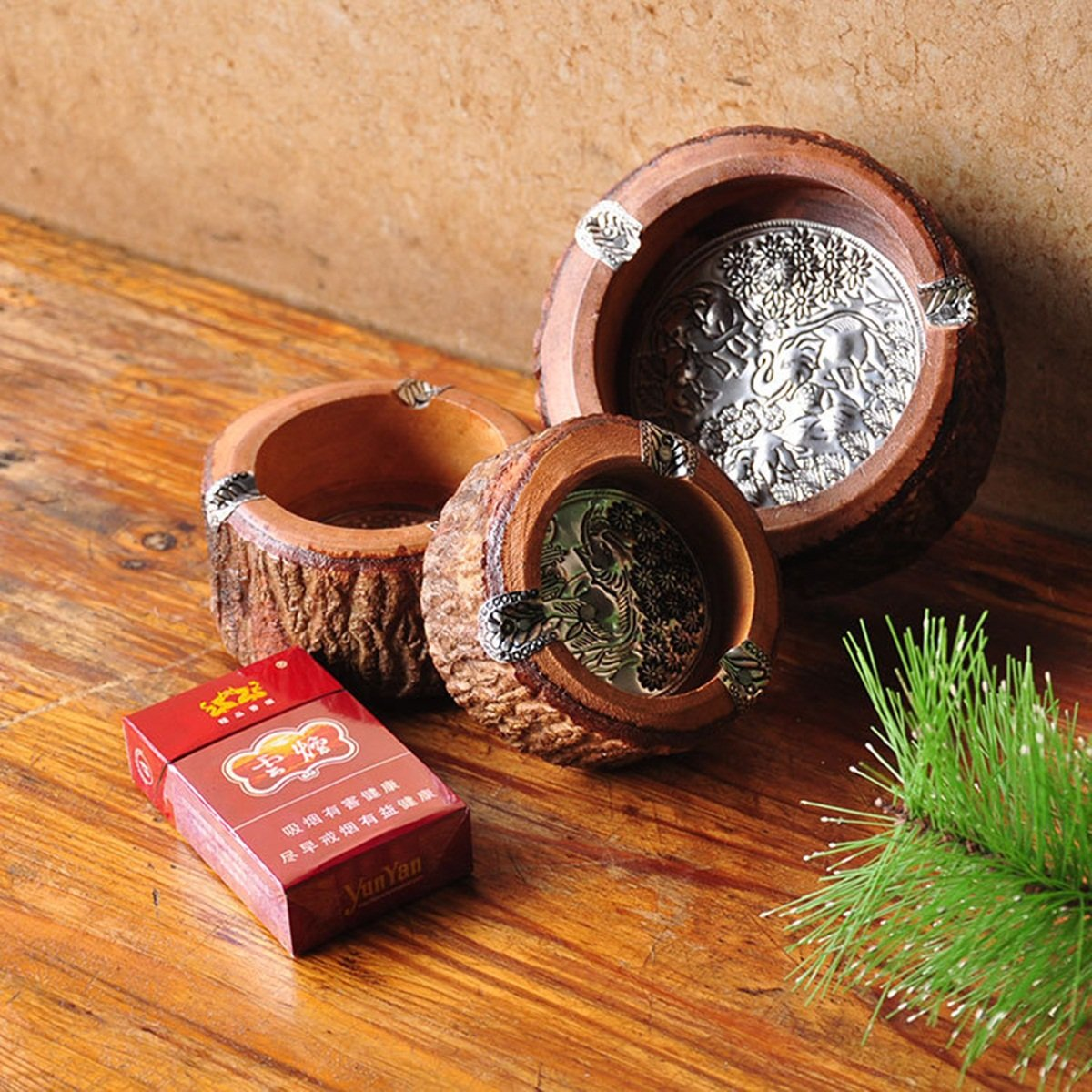 5.5cm - 10.16cm Diameter Unique Handmade Vintage Round Original Antique Wooden Cigarette Ashtray Ash Tray,Nice Decoration for House/Room/Office Decorative Indoor Outdoor 4