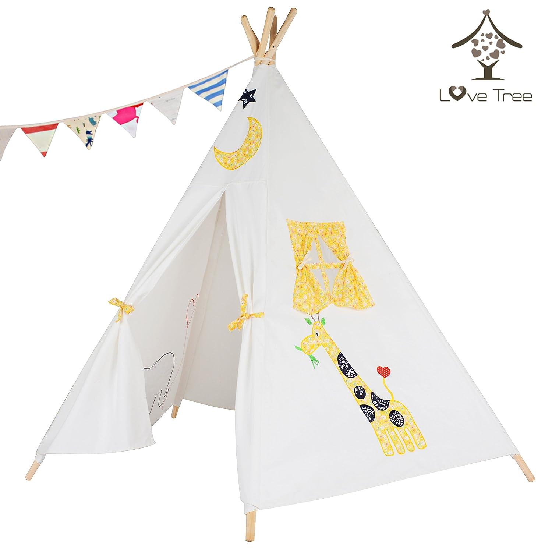 love tree India Spielzelt for Kinder, Tipi-Stickerei Elephant White Indianerzelt Teepee - Vormontiert