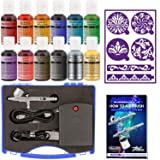 Master Airbrush Cake Decorating System, Precision Dual-action Gravity Feed Airbrush Set with Mini Air Compressor Plus 12 Chefmaster Airbrush Food Colors and Set of Airbrush Stencils with Case