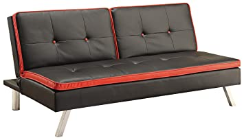 Sofa Bed in Black Leatherette
