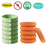 Gogogu 12 Pack of Natural Mosquito Repellent Bracelet - Natural Insect Bug Repellent Bands (Color: 12 pack s3, Tamaño: one size)
