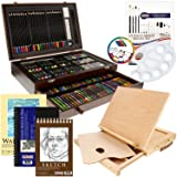 US Art Supply 163 Piece-Premium Mega Wood Box Art, Painting & Drawing Set That Contains All The Additional Supplies You Need to get Started and The Bonus Wooden Drawing Easel with Drawer. (Color: Black, Tamaño: 163-Piece Mega Bonus Set)