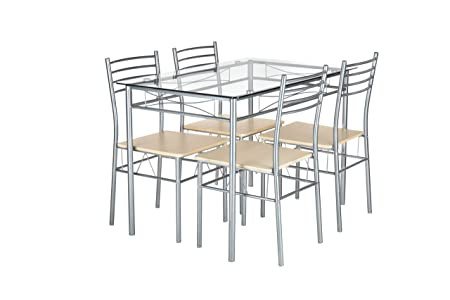 NRFI 5 Pcs Kitchen Breakfast Glass Dining Room Table and Chairs Set for 4 People