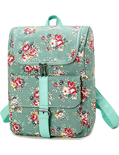 Leaper Jacquard Floral Canvas Fashion Laptop Bags/Back to School Bags for Teen Girls/Casual Backpack for Women with Rural Country Style (Small, Green)