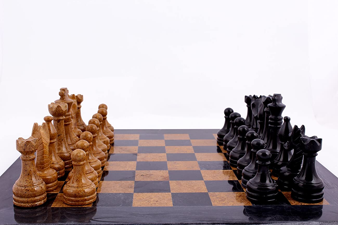 RADICAL 16 Inches Handmade Black and Golden Original Hand Crafted Marble Full Chess Game Set 2