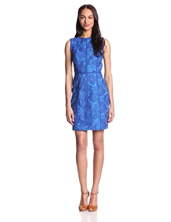 Cynthia Steffe Women's Eleonora Lace Sheath Dress, Blue Marine, 0