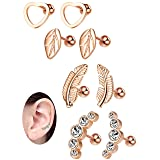 Milacolato 16G Cartilage Tragus Earrings Set for Women Girls Helix Conch Daith Piercing Jewelry 4 Pairs Rose (Color: Rose-gold)