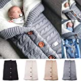 Newborn Baby Swaddle Blanket Fleece Stroller Wrap Nap Blanket Plus Velvet,Baby Kids Toddler Thick Knit Soft Warm Blanket Swaddle Sleeping Bag Sleep Sack Stroller (Color: Grey, Tamaño: 25.6*15.7 Inch)