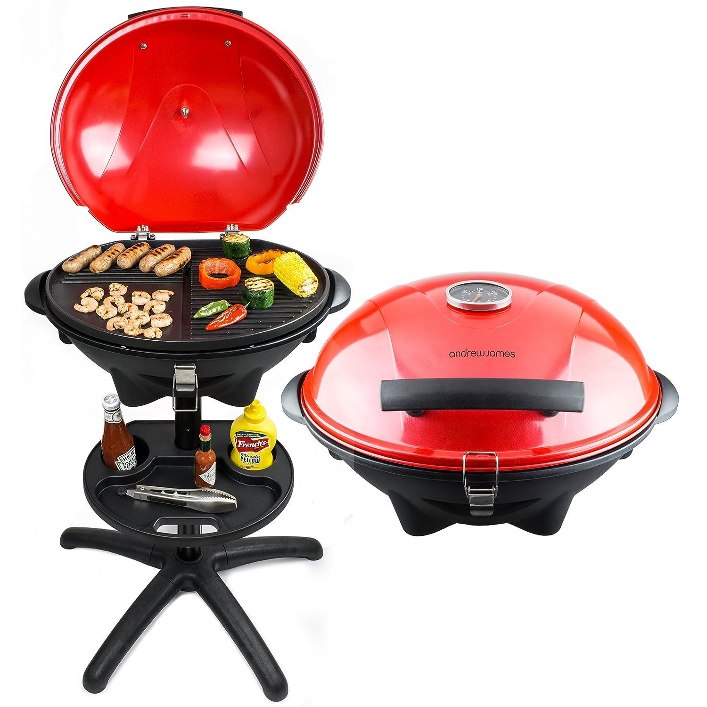 Andrew James Elektrischer BBQ Grill in Rot mit eingebautem Thermometer – Ideal für die ganzjährige Nutzung im Freien oder im Haus – 2 Jahre Garantie jetzt kaufen