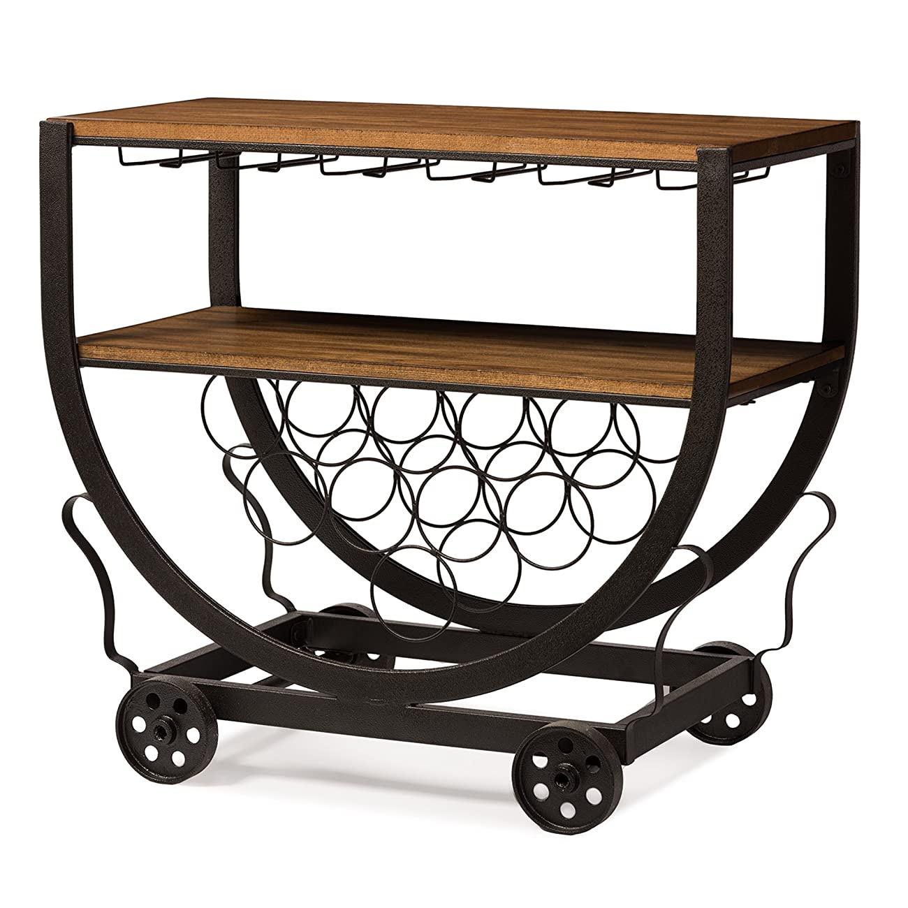 Baxton Studio Triesta Antiqued Vintage Industrial Metal & Wood Wheeled Wine Rack Cart 1