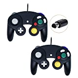 Wired Controller For Gamecube Game Cube, Classic Ngc Gamepad Joystick For Wii Nintendo Console (Black and Black,Pack Of 2) (Color: Black and Black)