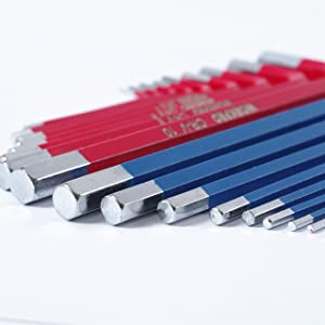 WORKPRO W022011A Hex Key Set Long Arm with Plastic Box 18-piece (Color: Blue&Red, Tamaño: full size)