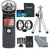 Zoom H1 Portable Digital Audio Recorder Deluxe Bundle with Shockmount + Mini Tripod + 32GB + Batteries & Charger+ Fibertique Cloth