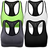 MIRITY Women Racerback Sports Bras - High Impact Workout Gym Activewear Bra Color Black Grey Green White Size 2XL