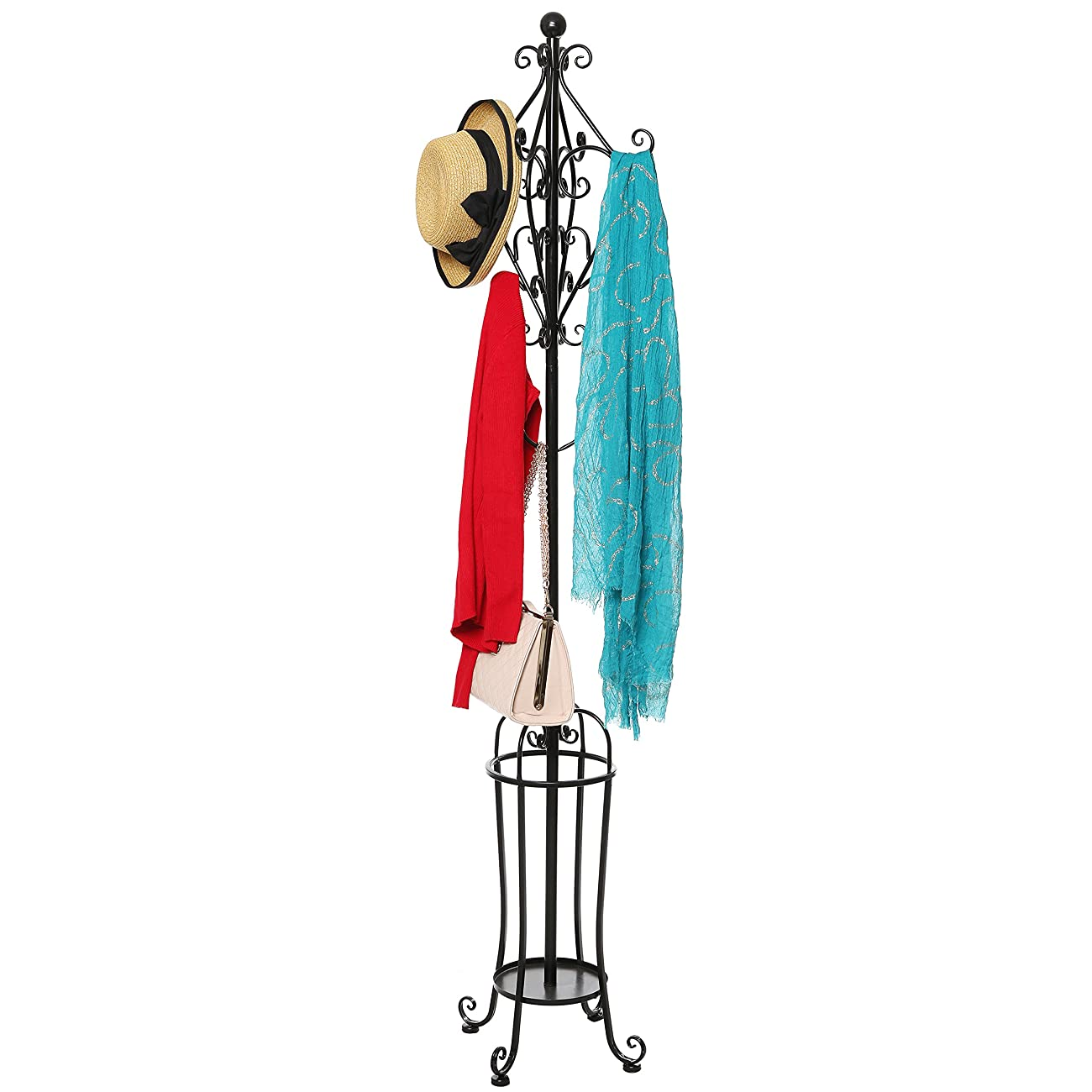 6' Freestanding Vintage Victorian Black Metal Scrollwork Coat Rack / Hat Hook Stand with Umbrella Holder 2