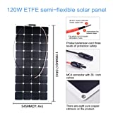 Kingsolar 120W 18V ETFT Flexible Solar Panel Charger Durable Sunpower Water-resistant for 12V battery on RV, Boat,Tent, Car, Other Off Grid Applications (Color: ETFE120)