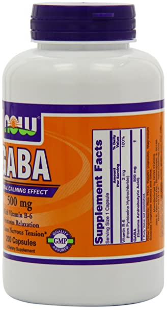 Now Foods Gaba 500mg With B 6 100 Vegetable Capsules
