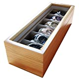 Solid Light Wood Watch Box Organizer with Glass Display Top by Case Elegance (Color: Pine)