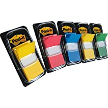 Post-it Flags Value Pack with Free Flag+ Pen, Assorted Primary Colors, 1-Inch wide, 50/Dispenser, 4-Dispensers