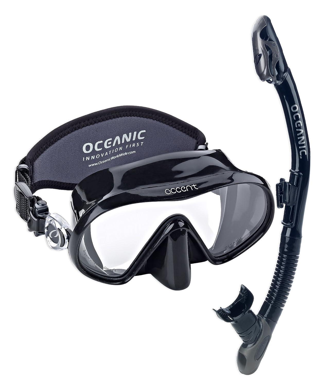 Oceanic Accent Scuba Dive Mask & Oceanic UltraDry Snorkel, Scuba Snorkel Set