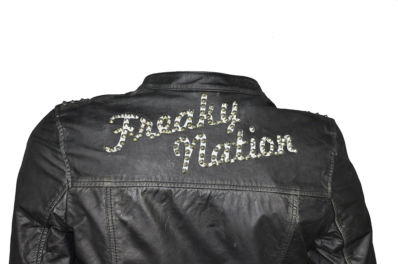 Sportliche Damen Büffelleder Bikerjacke mit Nietenbesatz in Schwarz, Freaky Nation, Art. Valerie(313756) jetzt bestellen