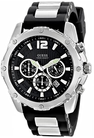 guess men s u0167g1 sporty silicone metal silver tone chronograph guess men s u0167g1 sporty silicone metal silver tone chronograph watch
