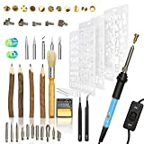 48Pcs Wood Burning Kit, Wood Carving Pen, Embossing, Adjustable Temperature Soldering Iron, Case, Silicone Tips, Stencils, twig pencils, Pyrography, Branding, Engraver Wood Burner, Creative DIY Hobby (Color: Blue)