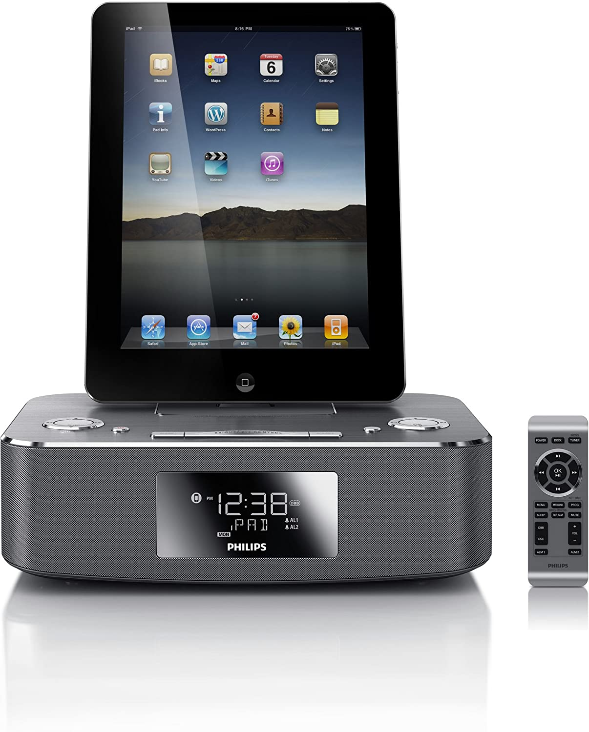 philips dc291 ipod iphone ipad alarm clock radio speaker docking station ebay. Black Bedroom Furniture Sets. Home Design Ideas