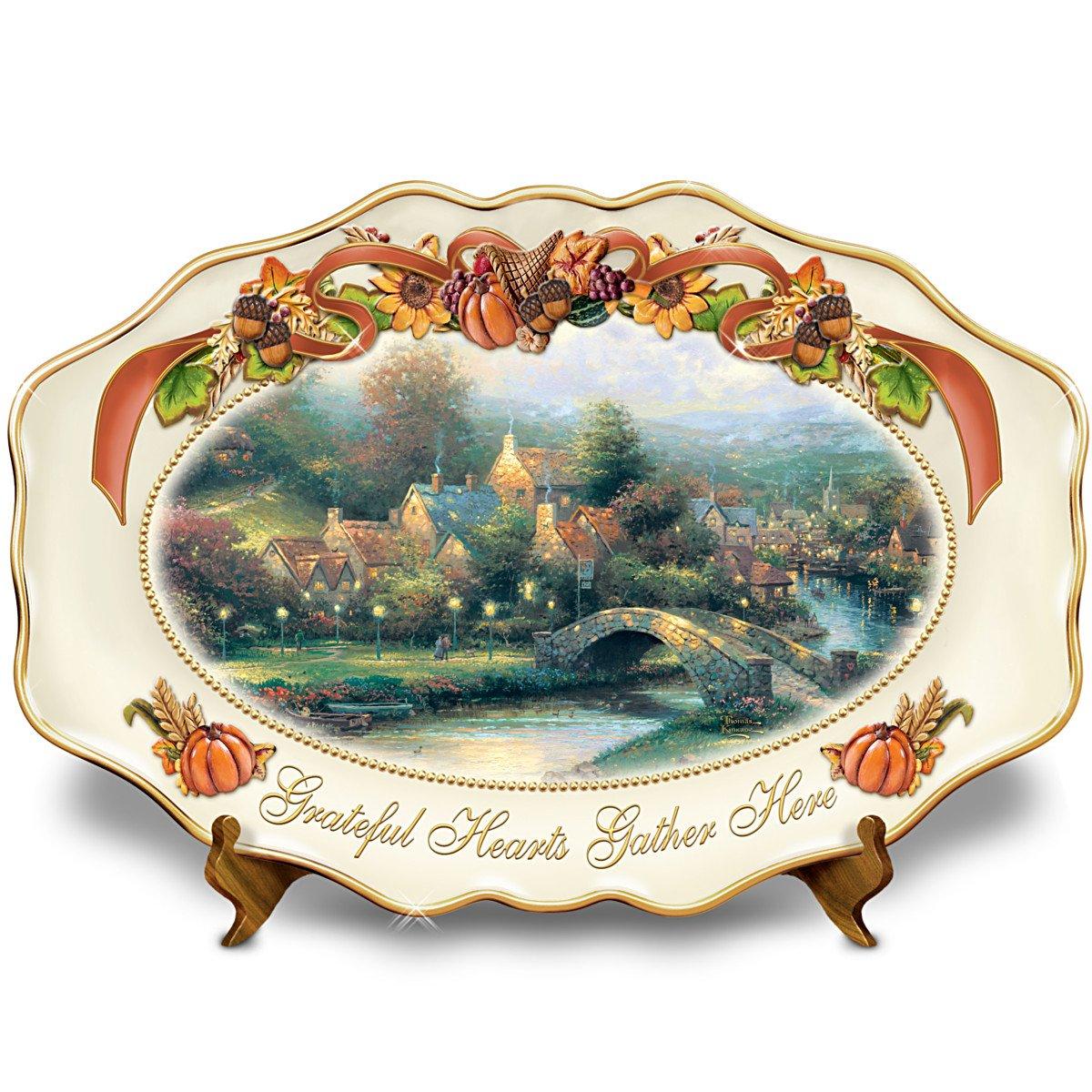 Thomas Kinkade's Lamplight Village Grateful Hearts Gather Here Thanksgiving Art Platter by The Bradford Exchange