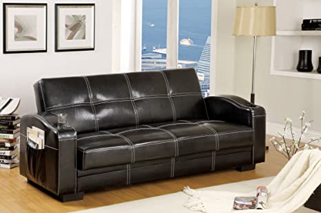Furniture of America Nelphine Leatherette Futon Sofa, Black Finish