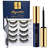 Arishine Magnetic Eyelashes with Eyeliner - Magnetic Eyeliner and Magnetic Eyelash Kit - Eyelashes With Natural Look - Comes With Applicator - No Glue Needed (Tamaño: 5 Pairs)
