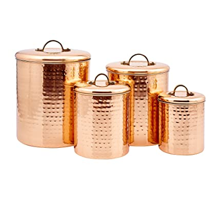 "4 Piece Décor Copper ""Hammered"" Canister Set"