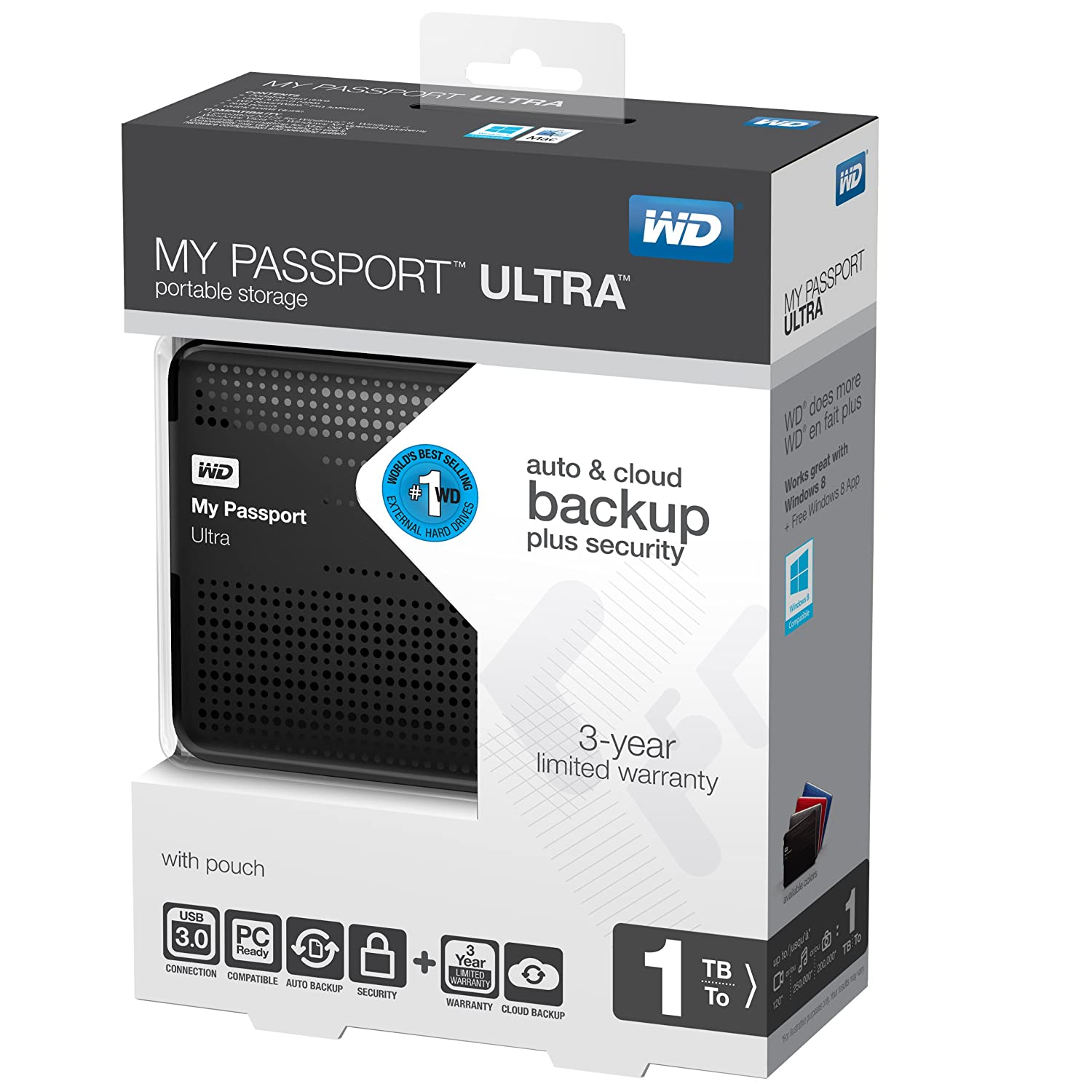 WD My Passport Ultra Disque Dur externe Extra Slim 1 To USB 3.0 Noir