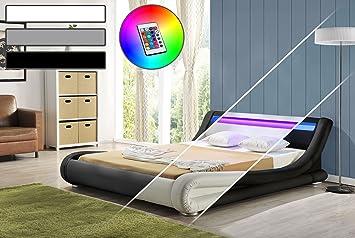 LED Bett DIABLO Doppelbett Polsterbett Lattenrost Kunstleder Bettgestell (180x200, Schwarz)