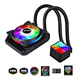 upHere High Performance Liquid CPU Cooler 120mm RGB Radiator,SYNC, All-in-One,PWM Fan, AM4 Compatible(CC120RGB) (Color: CC120RGB SYNC RGB, Tamaño: 120mm)