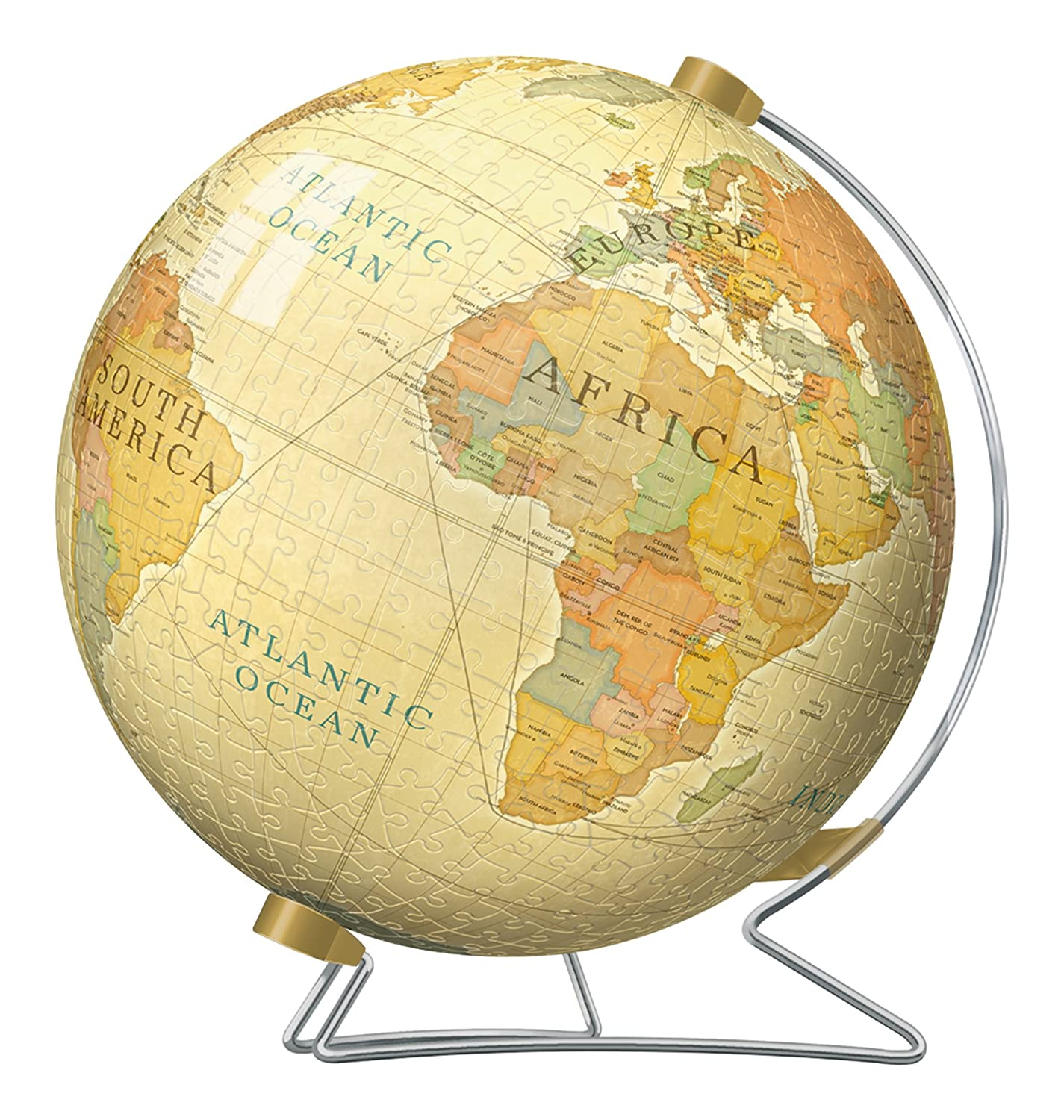 vintage world puzzle globe sphere ball