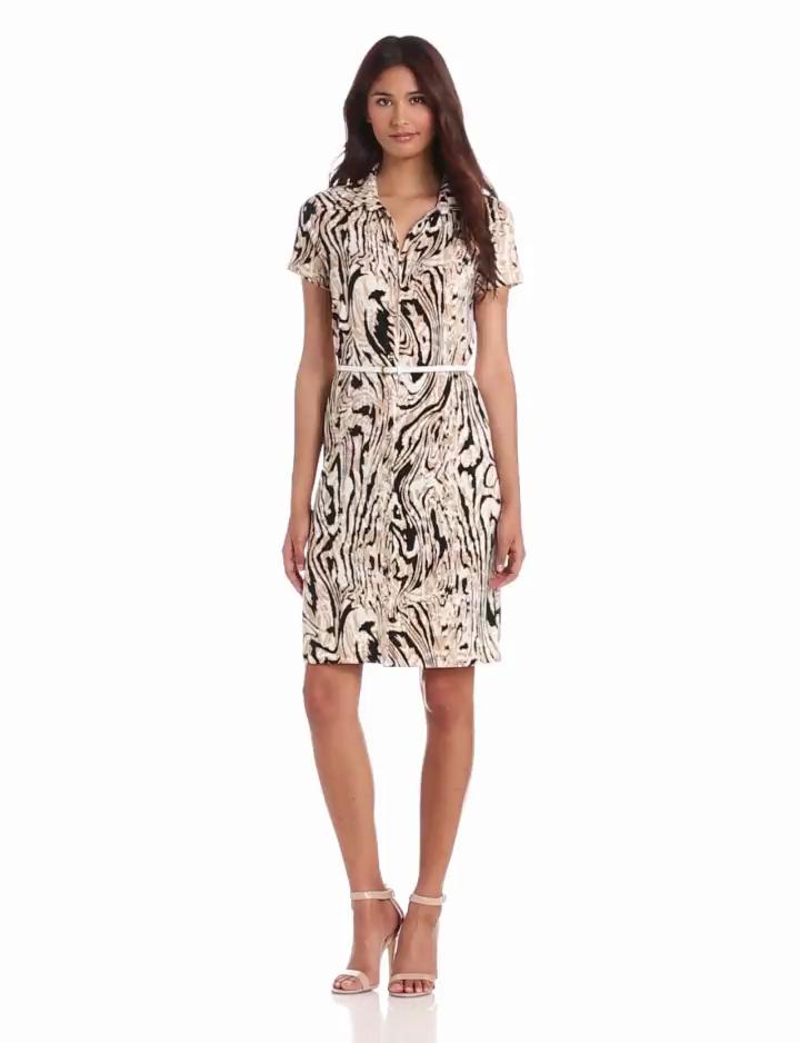 Anne Klein Womens Moire Print Dress, Oak Multi, Small
