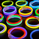 200-Pack Glow Stick Bracelets by CoBeeGlow | Bulk Pack of Thick 6mm 8 Inch GlowStick with Pre-Attached Connectors | 9 Vibrant Neon Colors | Bring Joy Into Your Life (Color: Red,yellow,pink,green, Purple, Orange, Blue, Aqua, White)